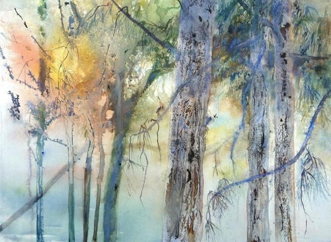 Pinède - Painting ©2009 by Reine-Marie PiNCHON -                            Contemporary painting, arbres pins coucher soleil lumière ombre résine écorces