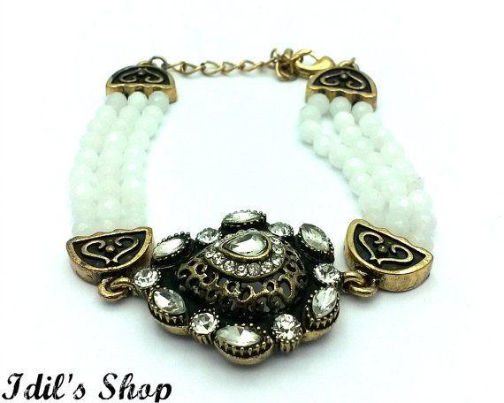 Turkish Ottoman Style Bronze Bracelet Charm Bracelet by IdilsShop