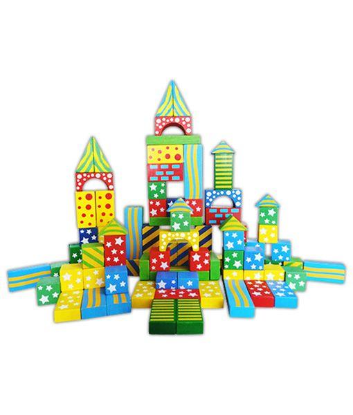 Set de cuburi de construit colorate și ornamentate din 100 de piese