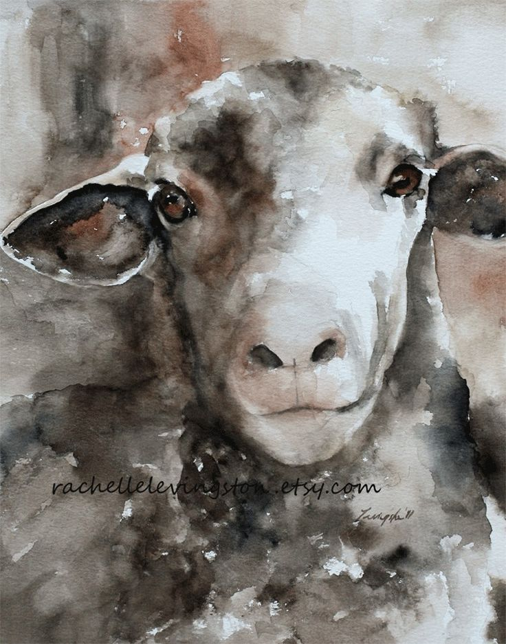 Little Girls nursery decor Cute vintage sheep picture  Large Sheep PRINT 11x14 (watercolor Painting nursery painting Sheep art PRINT). $25.00, via Etsy.