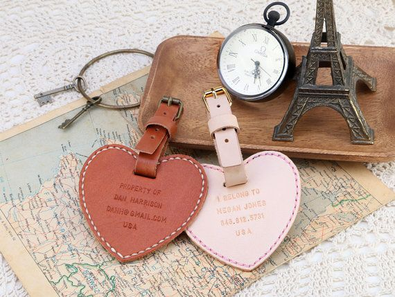 Heart Shape Leather Double Sided Luggage Tag, Personalized wording - Hand Stitched by Harlex