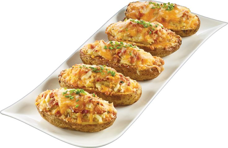 Monte Carlo Potato - Twice Baked Potatoes with Homemade Bacon Bits, Chives & Cheddar Cheese on Top from #YummyMarket