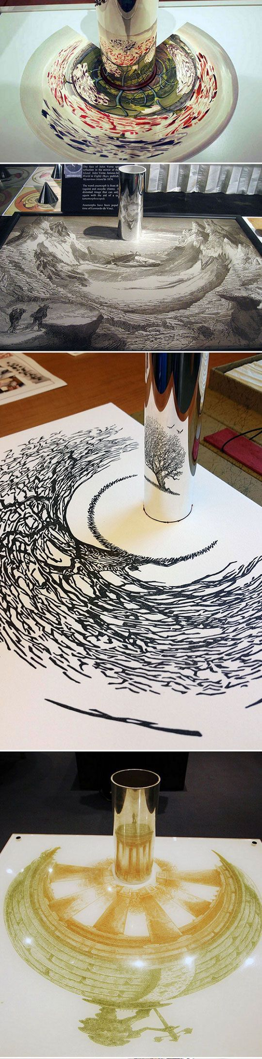Anamorphic Artworks. Artists featured: Lori Fossum (top) and István Orosz (rest). Don't know the name of the artist behind the black tree.