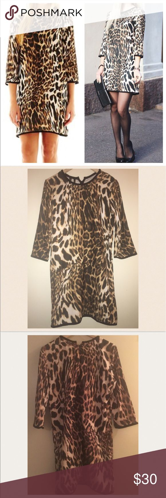 Just InMNG by Mango Animal print Shift Dress MNG by Mango Leopard Print  Out of stock Always a stunner, a chic leopard print lends dramatic style to our dress. polyester machine wash, dry flat imported. NWT 3/4 sleeves. Versatile and great for Jewelry layering. MNG by Mango Dresses