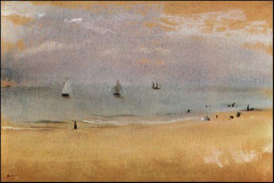 Beach with Sailing Boats by Edgar Degas