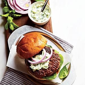 Lamb Burgers with Cilantro Raita | MyRecipes.com