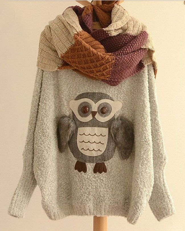Fashionable Scoop Neck Night Owl Pattern Batwing Sleeve Women's Sweater (GRAY,ONE SIZE) | Sammydress.com