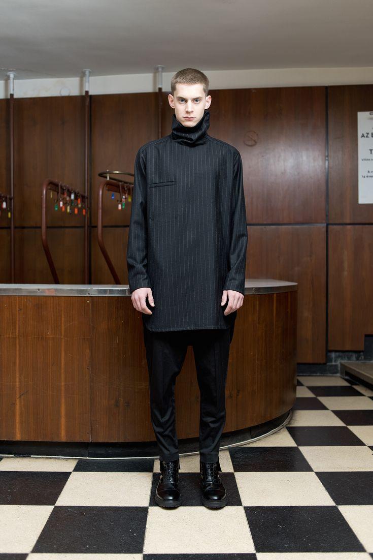 MEI KAWA   Wide Collar Wool Tunic Shirt