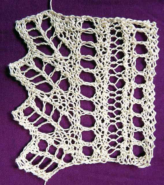Lace Knitting Pattern Library : pointed lace edging with eyelets to run ribbons through ...