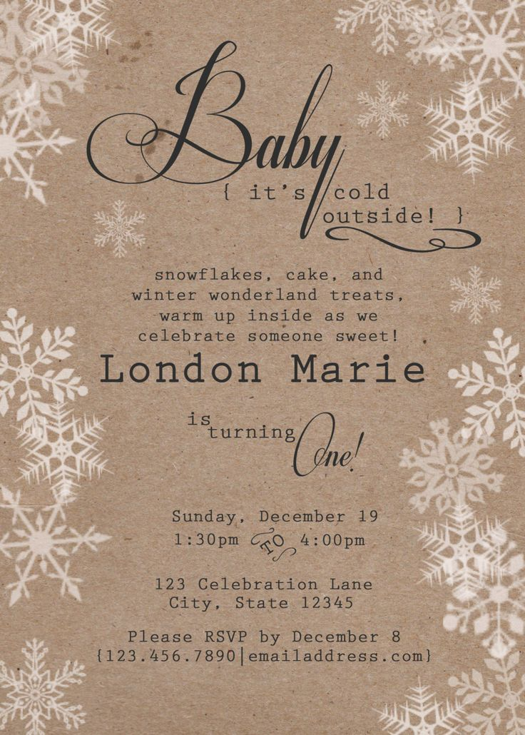 Rustic Winter Birthday Invitation Winter Onederland