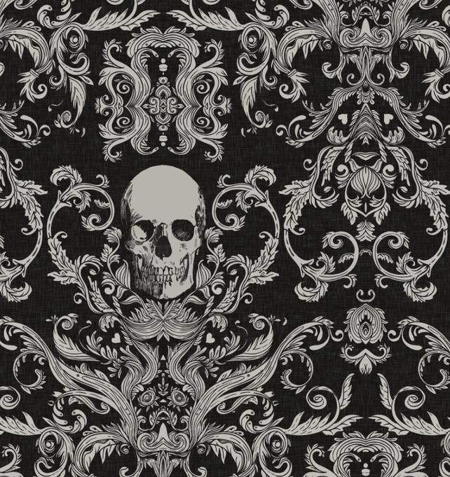 Macabre Skull Damask Peel N Stick Or Traditional Etsy Canvas Texture Macabre Damask