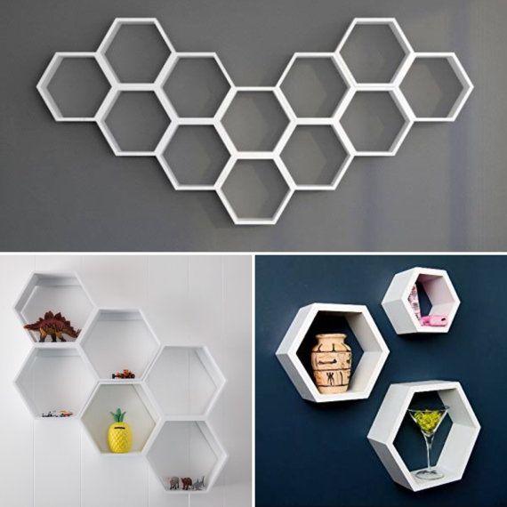 Hexagon Shelves  white & black by BoardAvenue on Etsy
