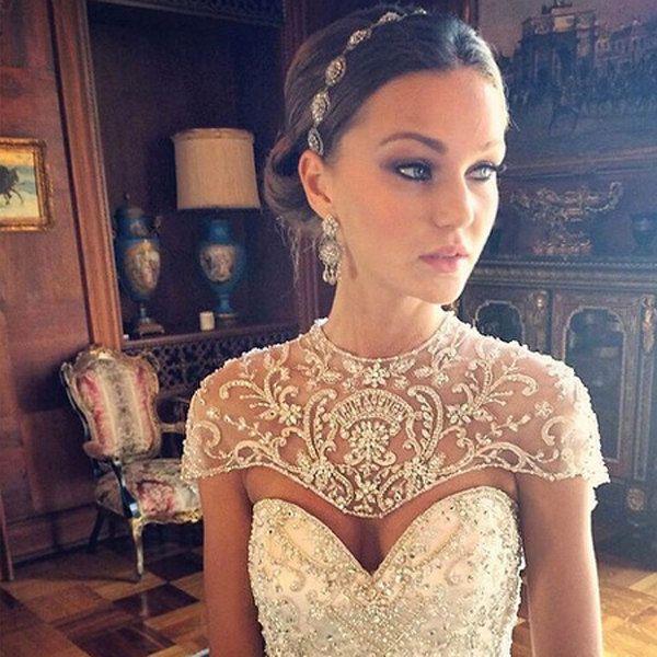Boho wedding headpiece – Swarovski crystal – filigree ribbon headband – vintage bohemian – bridal headpiece – boho bride – boho glam