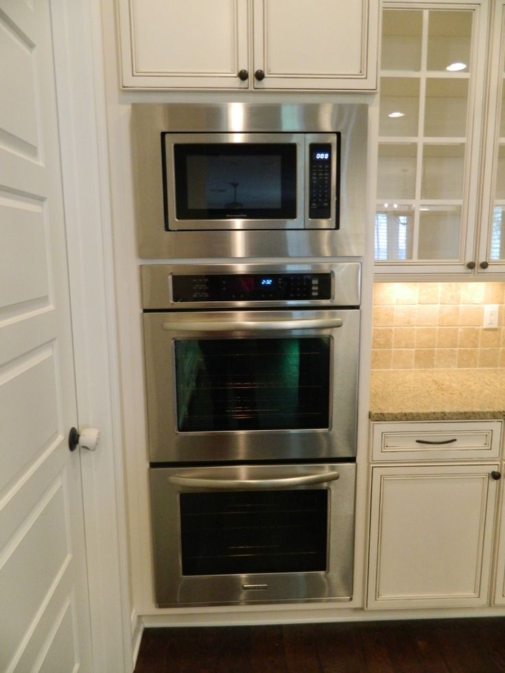 Double oven with microwave oven in kitchen appliance for Kitchen wall cupboards
