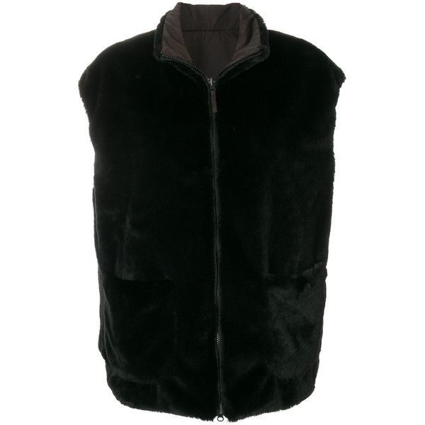 Aspesi reversible faux fur gilet (461 CAD) ❤ liked on Polyvore featuring outerwear, vests, black, faux fur waistcoat, gilet vest, reversible vest, fake fur vest and faux fur vest