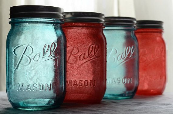 Stained Mason Jars in Coral & Blue Set of 4 by willowfairedecor, $24.00