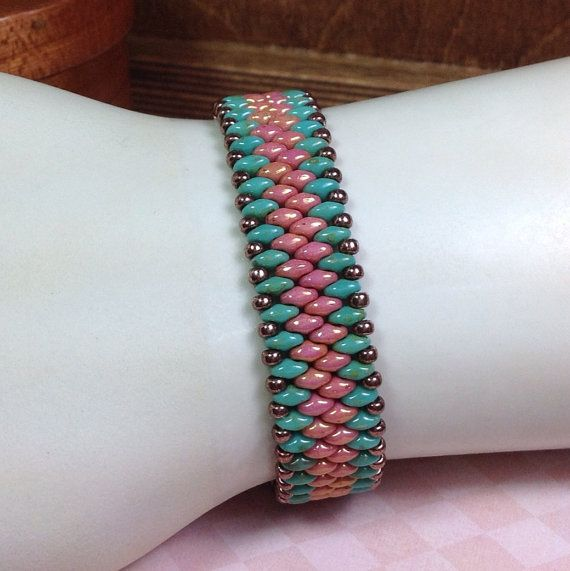 Super Duo Turquoise and Coral Beaded Bracelet by JewelryCharmers, $34.00