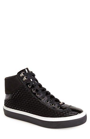 Jimmy Choo 'Argyle' Woven Leather & Velvet Sneaker (Men) available at #