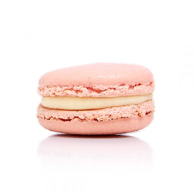 Rose Macaron. Creamy rose ganache with a square of Turkish delight