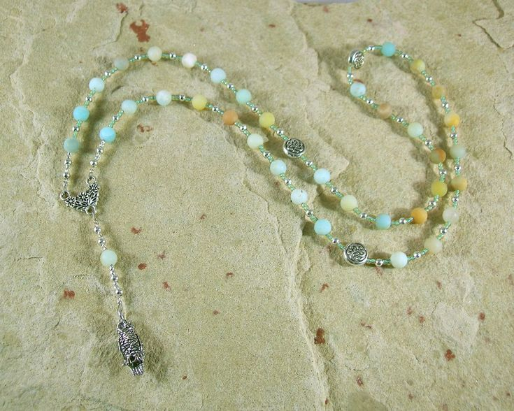 Blodeuwedd Prayer Bead Necklace in Flower Amazonite: Welsh Celtic Goddess of Spring, Maid of Flowers
