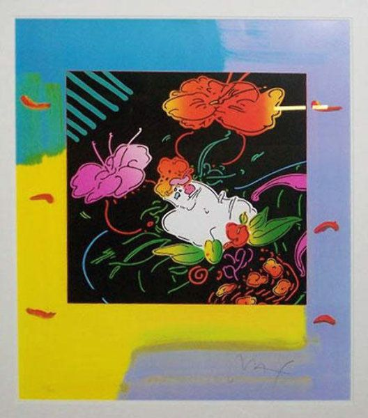 """Limited Edition Print """"Lady Floating Flowers"""" by Peter Max"""
