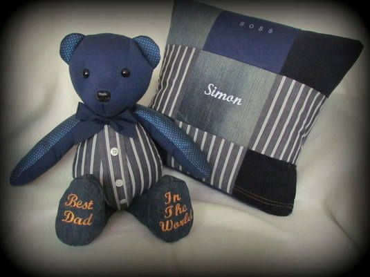 Remembrance Bear made with the shirt, jeans & tie of a much loved man.