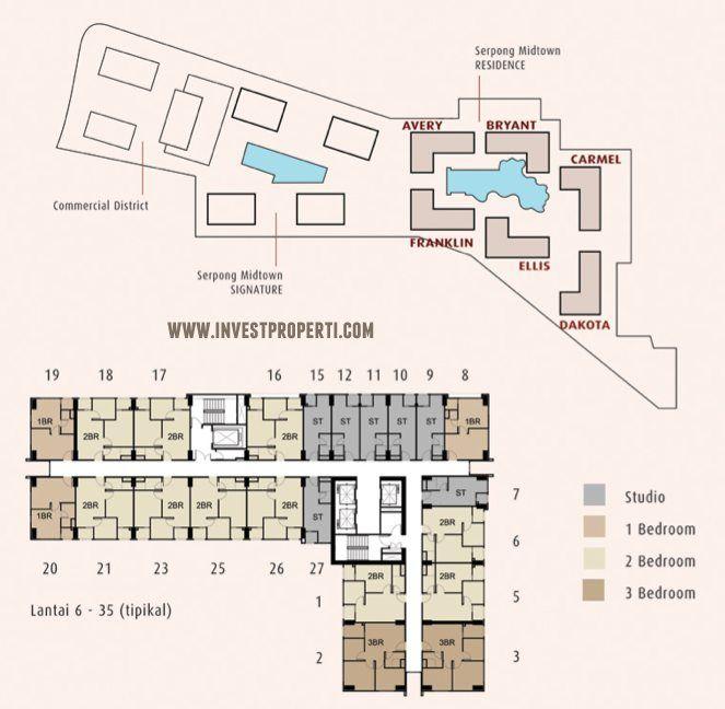 Floor plan / denah lantai apartemen Serpong Midtown Residence.