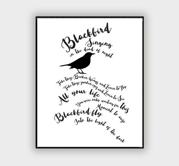 "The Beatles ""Blackbird""  Song Lyric Typography Quote Home and Office Decoration Motivational Poster Design Wall Art Music Poster"
