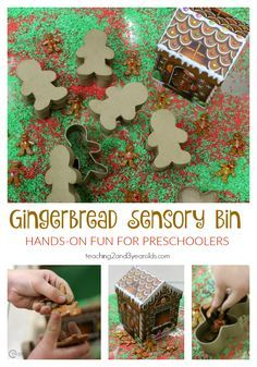 Scented rice, gingerbread men, and a gingerbread house create a fun Christmas gingerbread sensory bin for preschoolers this holiday season!  #christmassensorybin #gingerbread