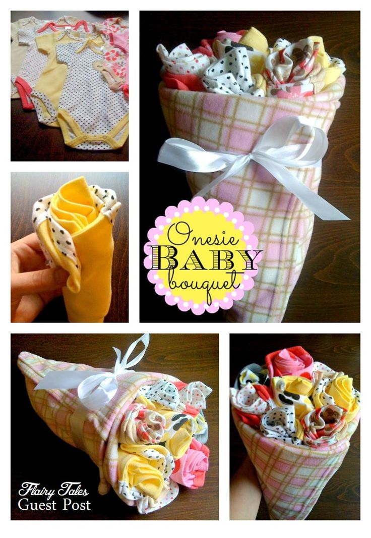 use a bunch of onesies to create a unique and customized baby gift!
