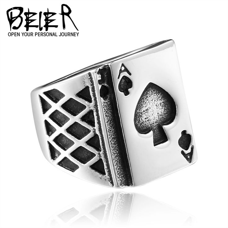 BEIER Lucky Playing Card Ring Stainless Steel Fashion Man's Gothic Bring Lucky Jewelry BR8-265