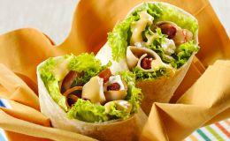 Uma seleção com variadas receitas de wraps, desde os com recheios de salmão até o pernil de cordeiro.