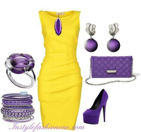 Yellow dress. Purple accessories.. I would never think to put these colors together. Wonder if I can pull this off? look book