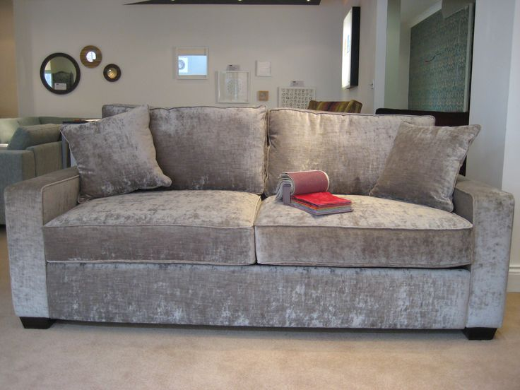 Sherwood sofa in J Brown crushed velvet. This British made sofa may be ordered in standard or bespoke sizes, in any fabric or leather (with or without a sofa bed).