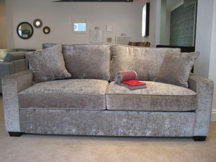 Sherwood Sofa In J Brown Crushed Velvet Silver