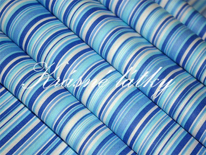 Modrý proužek - šíře 240 cm 100% bavlna Velmi pěkná kvalita!