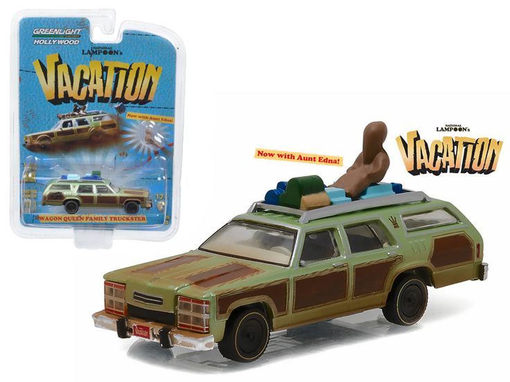 "1979 Family Truckster ""Wagon Queen"" with Aunt Edna ""National Lampoon's Vacation"" Movie (1983 ) 1/64 Diecast Model Car by Greenlight - Brand new 1:64 scale car model of 1979 Family Truckster ""Wagon Queen"" with Aunt Edna ""National Lampoon's Vacation"" Movie (1983) die cast model car by Greenlight. Limited Edition. Has Rubber Tires. Comes in a blister pack. Detailed Interior, Exterior. Metal Body and Chassis. Officially Licensed Product. Dimensions Approximately L-2.5 Inches Long.-Weight: 1…"