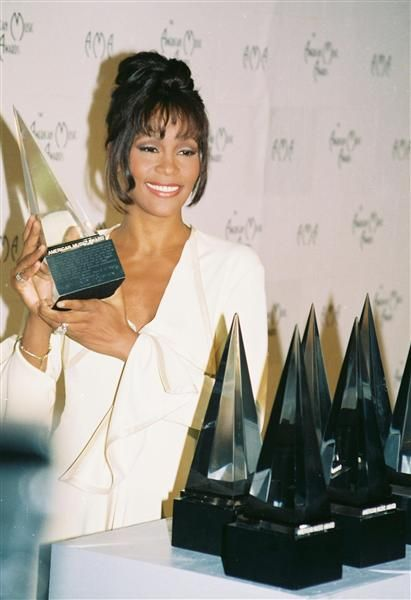 Saturday February 11, 2012   Whitney Houston pictured at The 21st Annual American Music Awards at the Shrine Auditorium in Los Angeles on July 2, 1994.                               She died today at age 48.