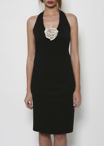 Sexy black dress in pique elastic backless with deep V