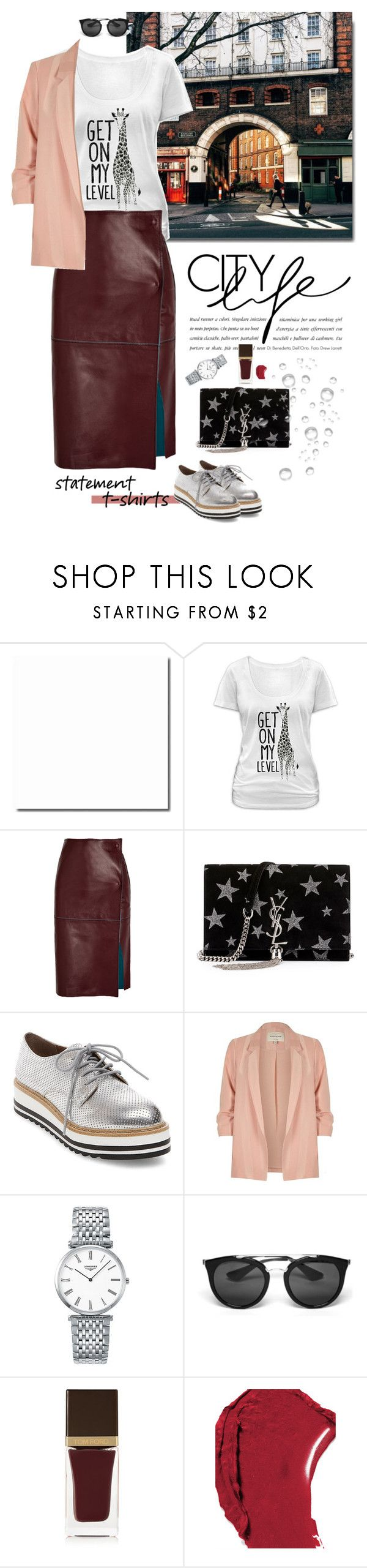 """Say What: Statement T-Shirts"" by frechelibelle ❤ liked on Polyvore featuring Goodie Two Sleeves, By Malene Birger, Yves Saint Laurent, Steve Madden, River Island, Longines, Prada, Tom Ford and Chanel"