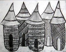 Arts Visuels Ecole PS MS GS CP CE1 CE2 CM1 CM2 : village africain au fusain: