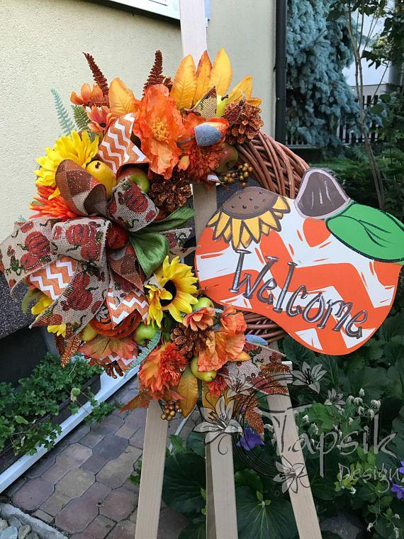 Pumpkin Wreath Fall Wreath Front Door Wreath Fall Home