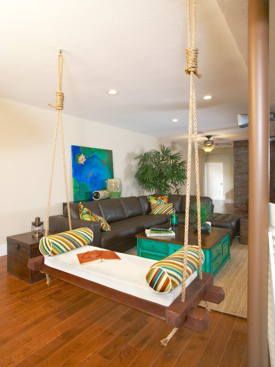A swing in your living room is...pretty much awesome!