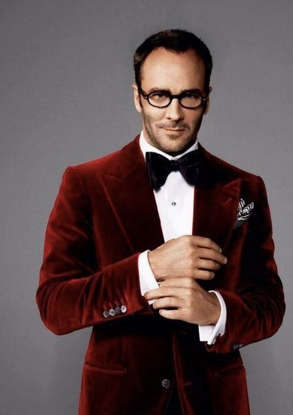 Mens style: Tom Ford. Red velvet dinner jacket blazer.