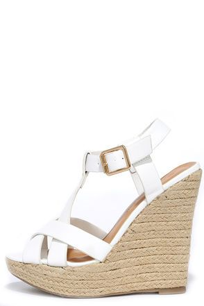 Dancing Time White Espadrille Wedges at Lulus.com!
