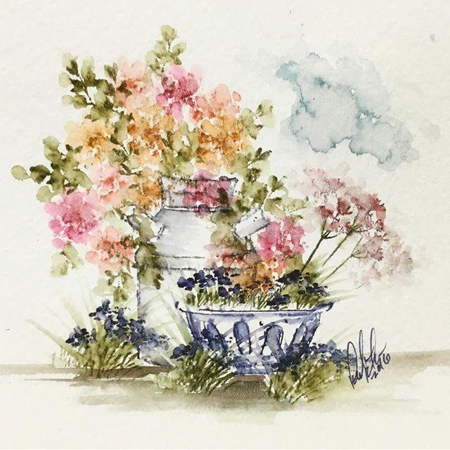 Art Impressions Wonderful Watercolor: flower pots, flowers, foliage, grass, milk can