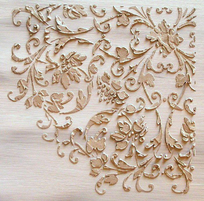 Raised Plaster Cardouche Stencil, Craft Stencil, Wall Stencil, Furniture Stencil, Painting Stencil. $34.99, via Etsy.