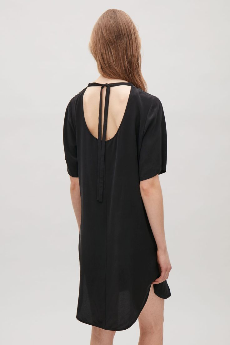 COS image 3 of Oversized silk t-shirt dress in Black