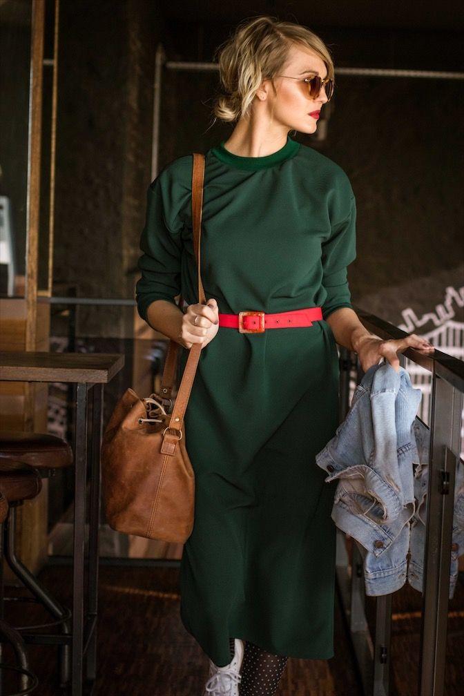 Green casual dress