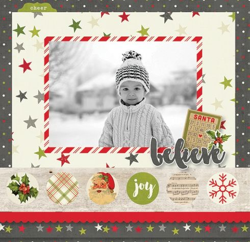 This layout designed by Simple Stories used the Claus & Co. collection.